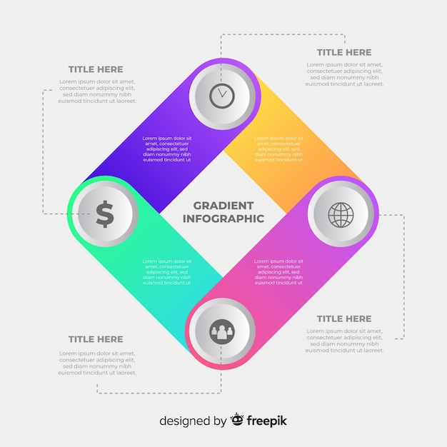 Flat colorful gradient infographic template Free Vector