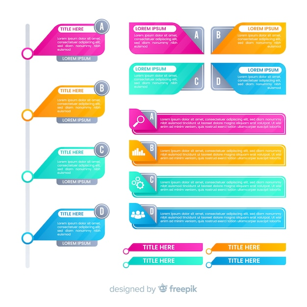 Flat colorful gradient infographics elements Free Vector