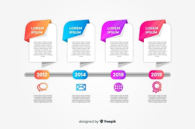Flat colorful gradient timeline infographics Free Vector