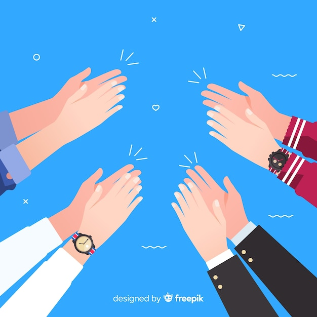 Flat colorful hands applauding Free Vector