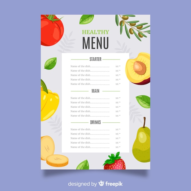 Flat colorful healthy food menu Vector   Free Download