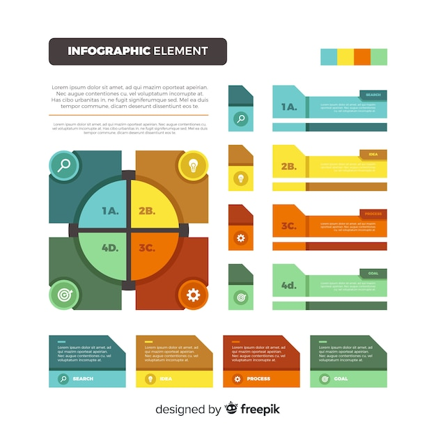 Flat colorful infographic element collection Free Vector