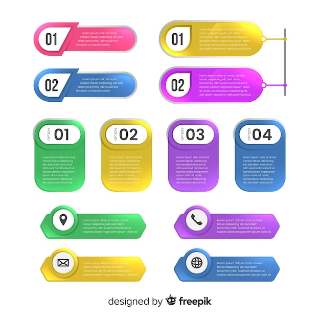 Flat colorful infographic steps collection Free Vector