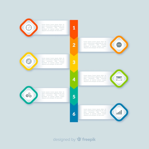 Flat colorful infographic steps Free Vector