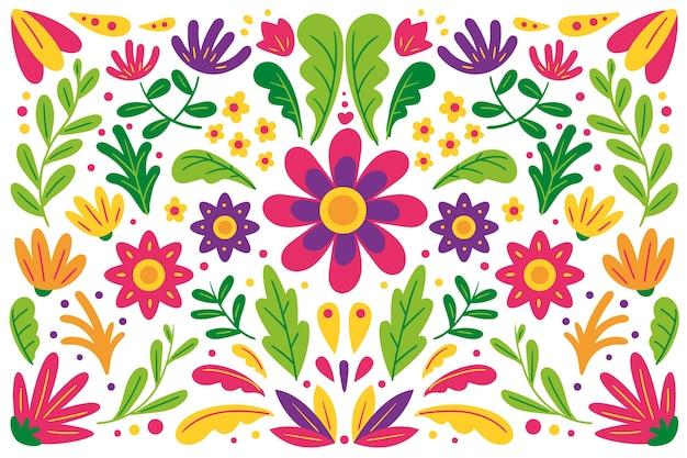 Плоский красочный мексиканский фон Бесплатные векторы