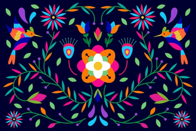 Flat colorful mexican screensaver Free Vector