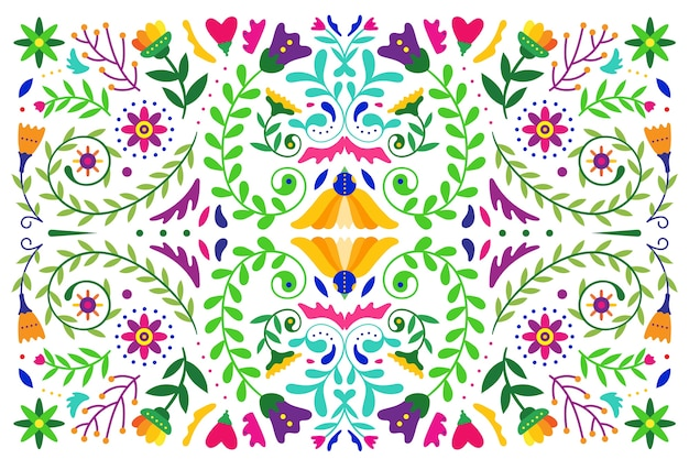 Плоские красочные мексиканские обои Бесплатные векторы