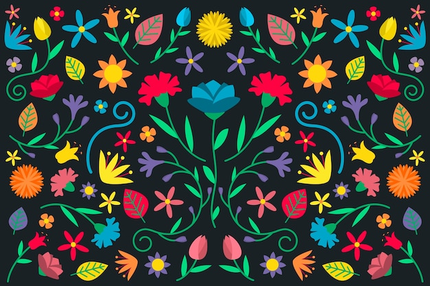 Flat colorful mexican wallpaper Free Vector