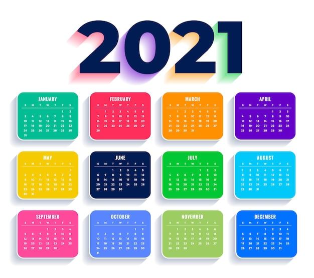 Плоский красочный новогодний календарь шаблон Бесплатные векторы