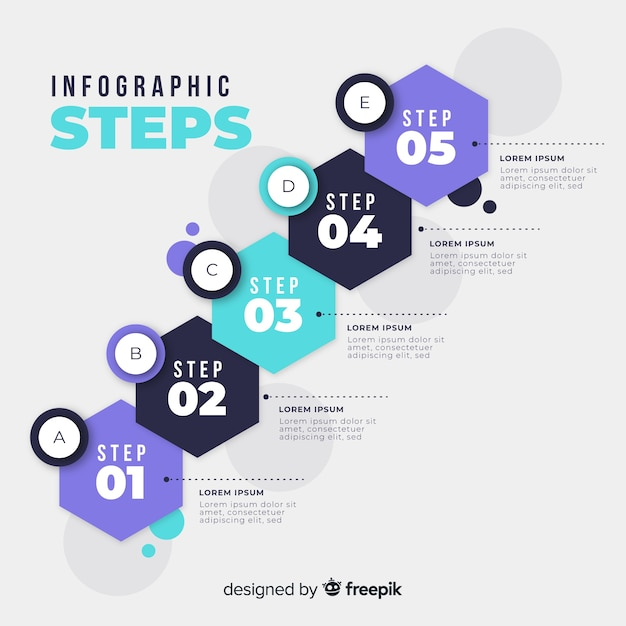 Flat colorful numbered step infographic Free Vector