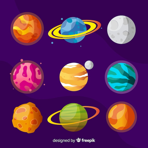 Flat colorful planet collection Free Vector