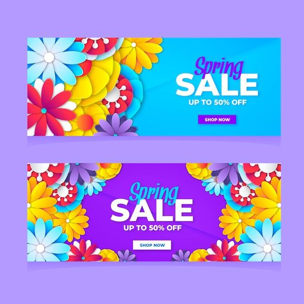 Плоские красочные весенние продажи баннеров Бесплатные векторы