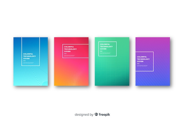 Flat colorful technology cover collection Free Vector