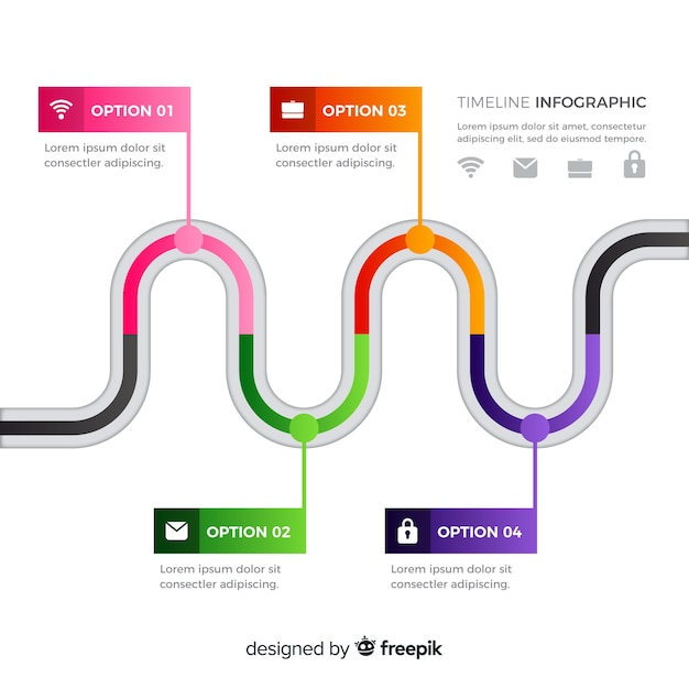 Flat colorful time line infographic Free Vector