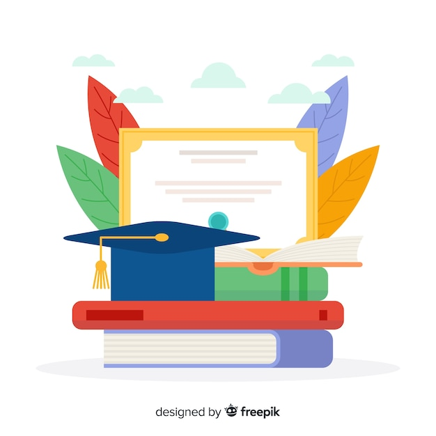 Flat colorful university concept background Free Vector