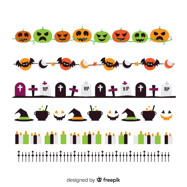 Flat coloured halloween border collection Free Vector