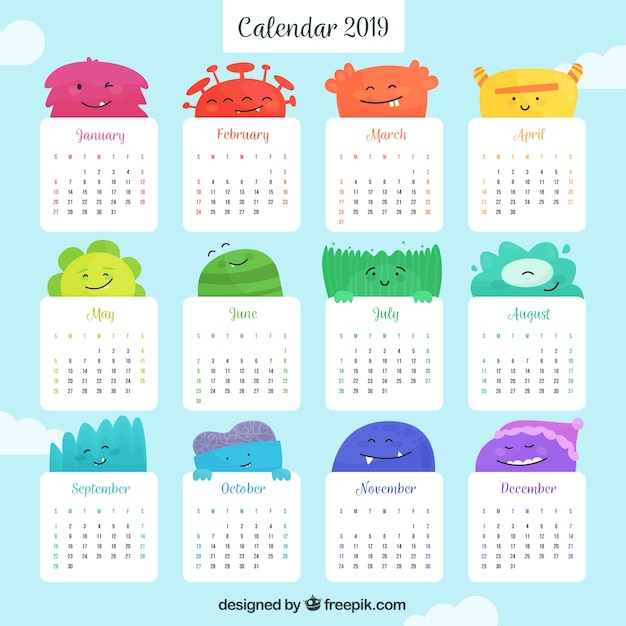 Flat colourful calendar for the year 2019 Free Vector