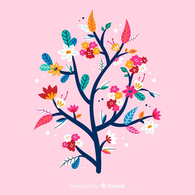 Flat colourful floral branch on pink background Free Vector