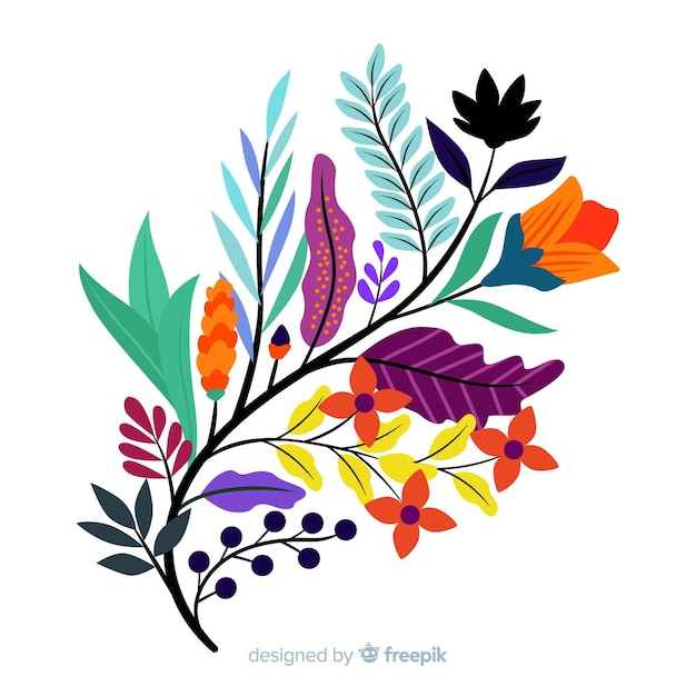 Flat colourful floral branch with cute flowers Free Vector