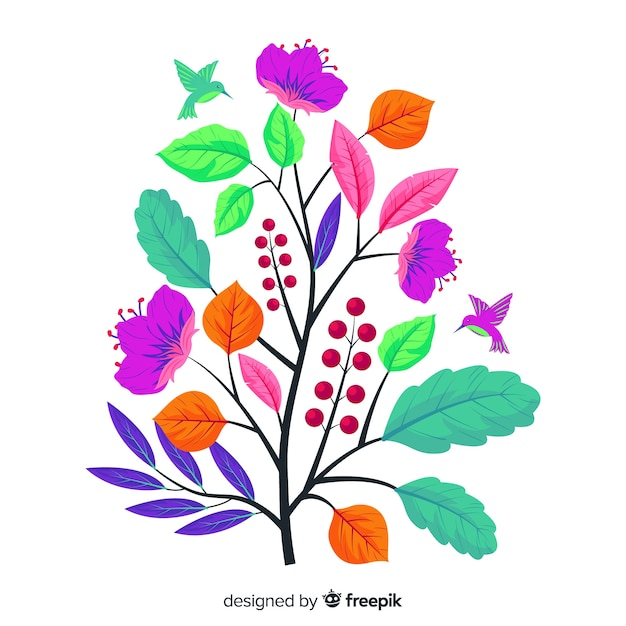 Flat colourful floral branch Free Vector