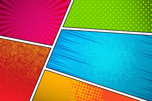 Flat comic style background Free Vector