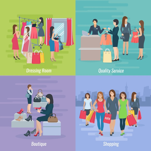 Flat composition depicting woman shopping in boutique or mall vector illustration Free Vector