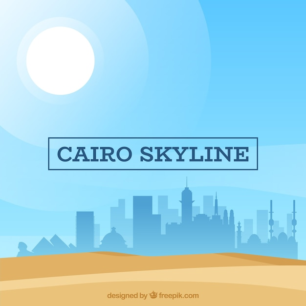 Flat composition with cairo's skyline Free Vector