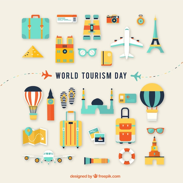 Flat composition with fun touristic elements Free Vector