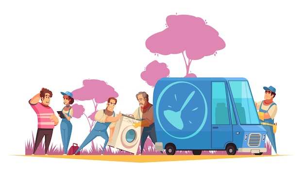 Flat composition with plumbers transporting washing machine to service center for repair  cartoon  illustration Free Vector