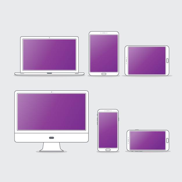Flat computer desktop icon set Premium векторы