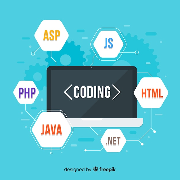 Flat computer engineering concept with it codes Free Vector