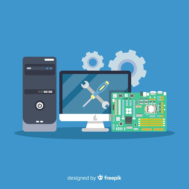 Flat computer engineering concept Free Vector