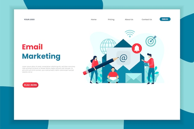Flat concept design email marketing template for site Premium Vector