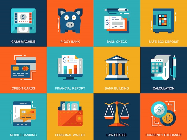 Flat conceptual banking and finance icons concepts set Premium Vector