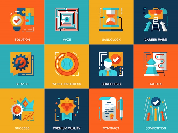 Набор плоских концептуальных концепций бизнес-процессов иконки Premium векторы