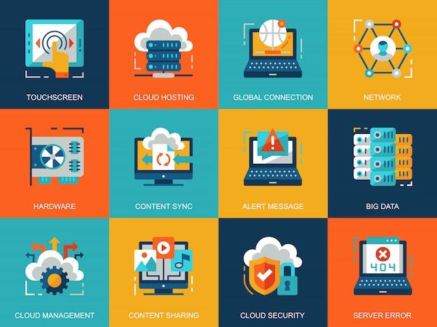 Flat conceptual cloud technology icons concepts set Premium Vector