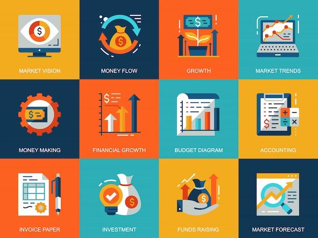 Flat conceptual global market economics icons concepts set Premium Vector