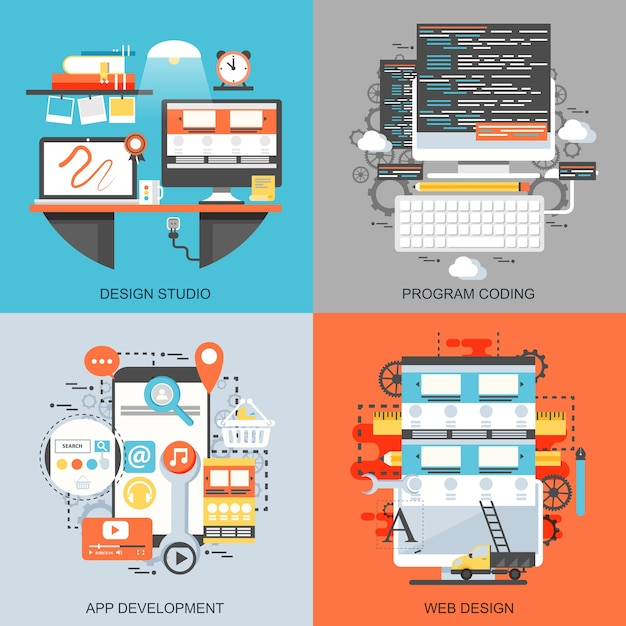 フラットな概念アイコン創造的なオフィスワークスペースアートスタジオ、プログラムコーディングのセット。 Premiumベクター