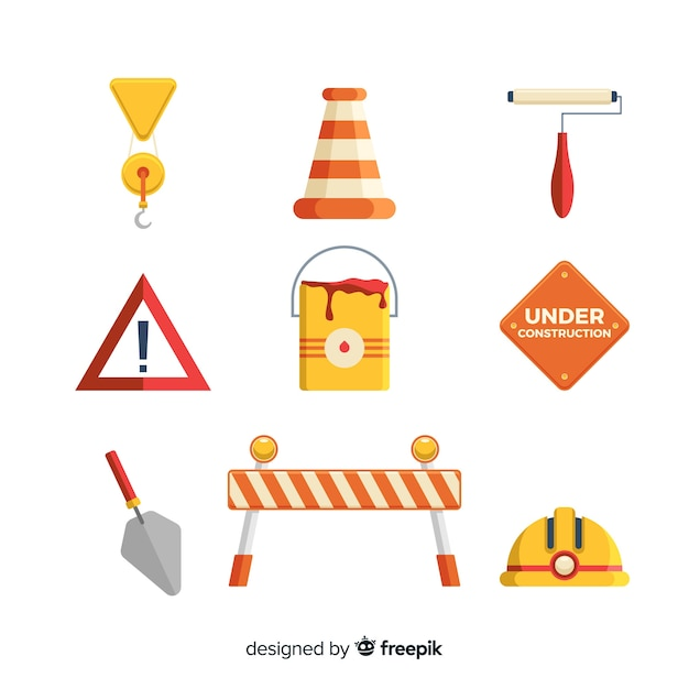Flat construction equipment collection Free Vector