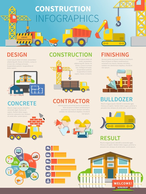 Flat construction infographic template Free Vector