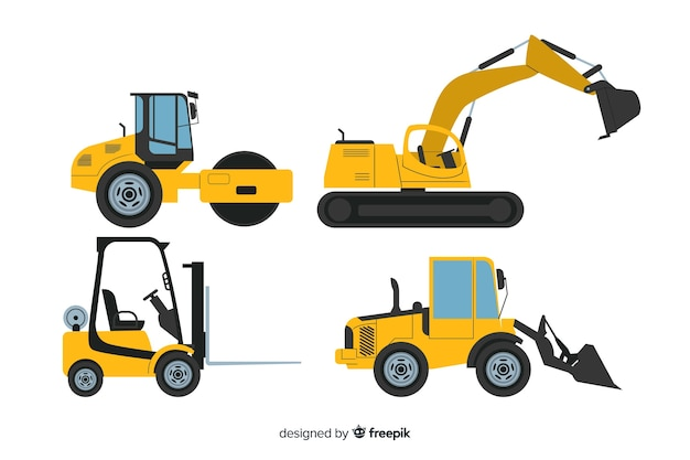 Flat construction machines collection Free Vector