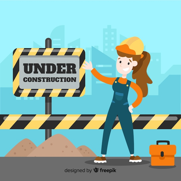 Flat under construction sign background with laborer Free Vector