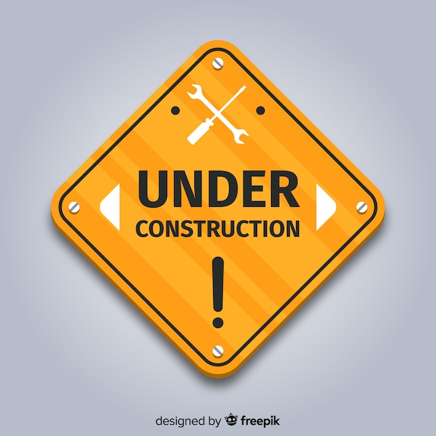 Flat under construction sign background Free Vector