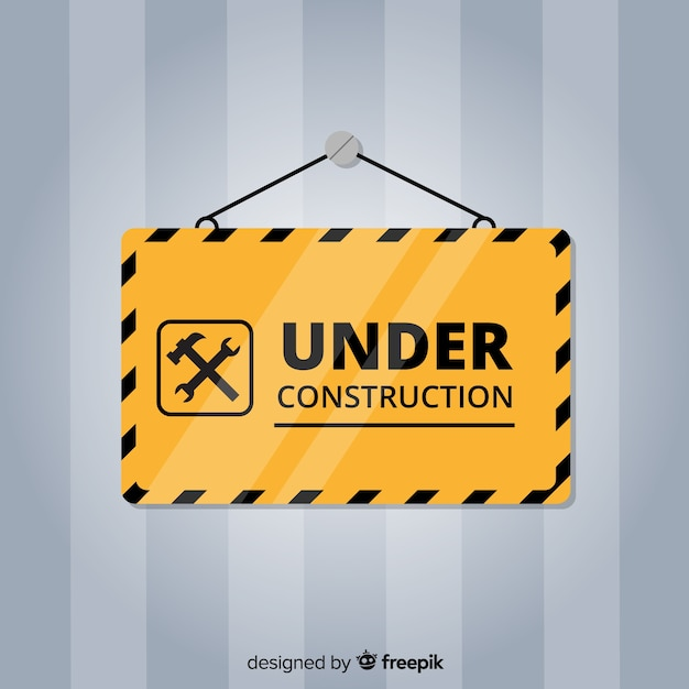 Flat under construction sign Free Vector