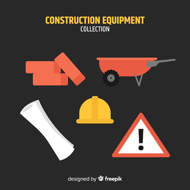 Flat construction tools collection Free Vector