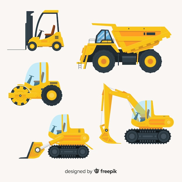 Flat construction trucks collectio Free Vector