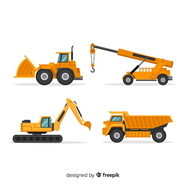 Flat construction trucks collection Free Vector