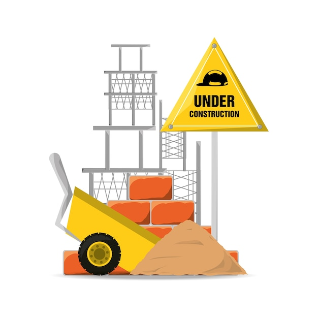 Flat under construction warning and cart with cement Premium Vector
