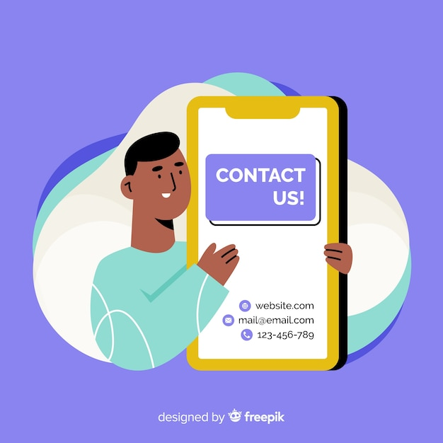 Flat contact us background Free Vector