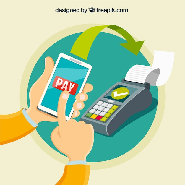 Flat contactless payment concept Free Vector